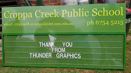Changeable School Sign for Croppa Creek